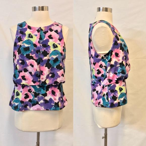 3a170a3e9cb03b Ann Taylor Petite Floral Print Sleeveless Blouse